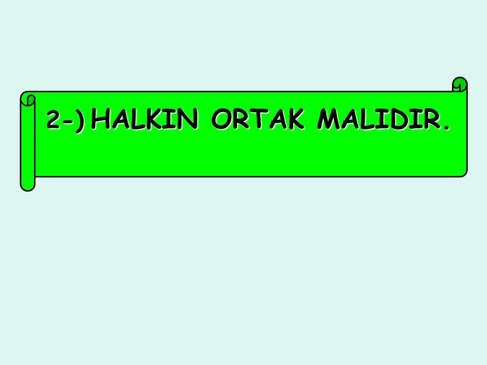 2-) HALKIN ORTAK MALIDIR.