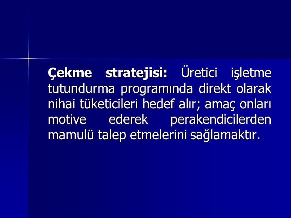 Çekme stratejisi: Üretici işletme tutundurma programında direkt olarak nihai tüketicileri hedef alır; amaç onları motive ederek perakendicilerden mamulü talep etmelerini sağlamaktır.