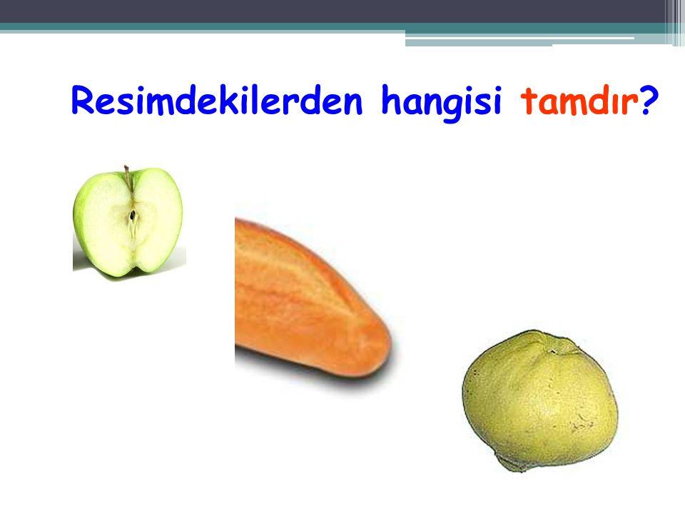 Yandaki resimde kaç tam, kaç yarım portakal var? 4 tam, 1 yarım portakal var. Önce tam portakalları sayalım.