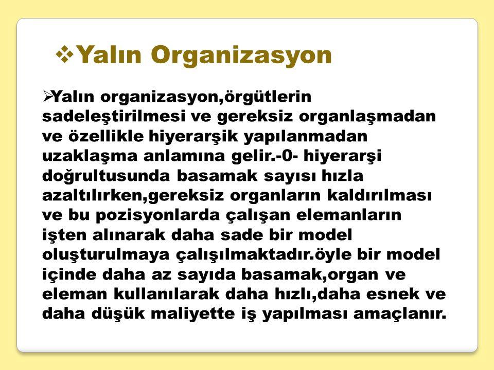  Yalın Organizasyon  Yalın organizasyon,örgütlerin sadeleştirilmesi ve gereksiz organlaşmadan ve özellikle hiyerarşik yapılanmadan uzaklaşma anlamın