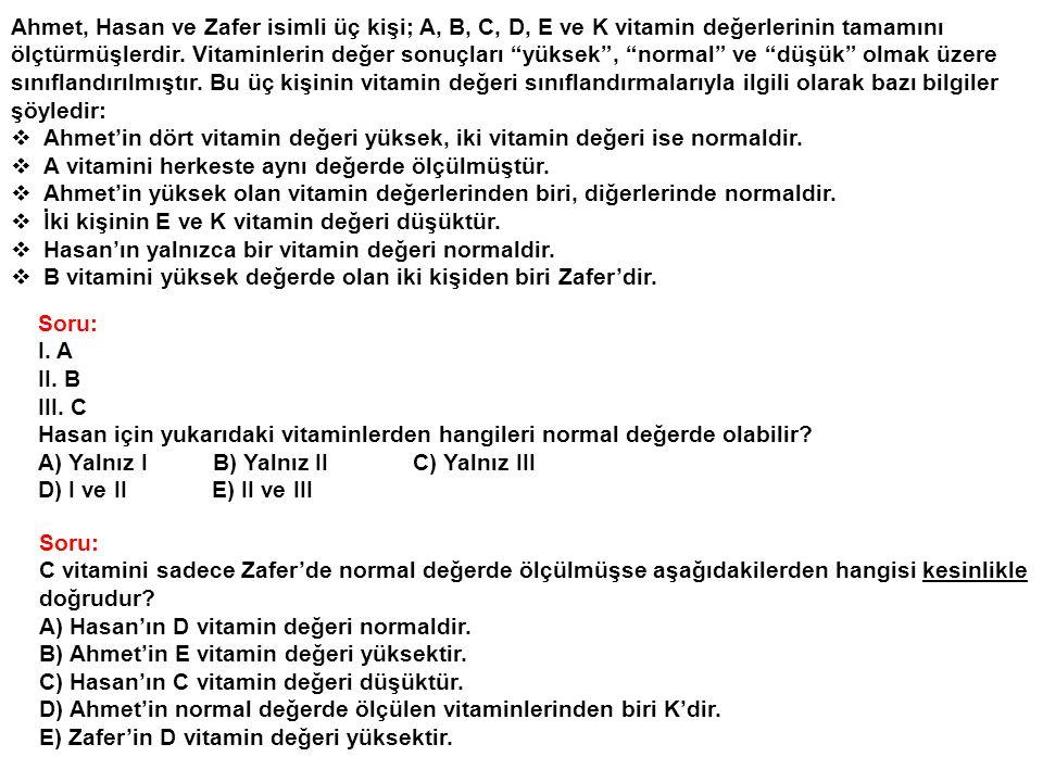 """Ahmet, Hasan ve Zafer isimli üç kişi; A, B, C, D, E ve K vitamin değerlerinin tamamını ölçtürmüşlerdir. Vitaminlerin değer sonuçları """"yüksek"""", """"normal"""