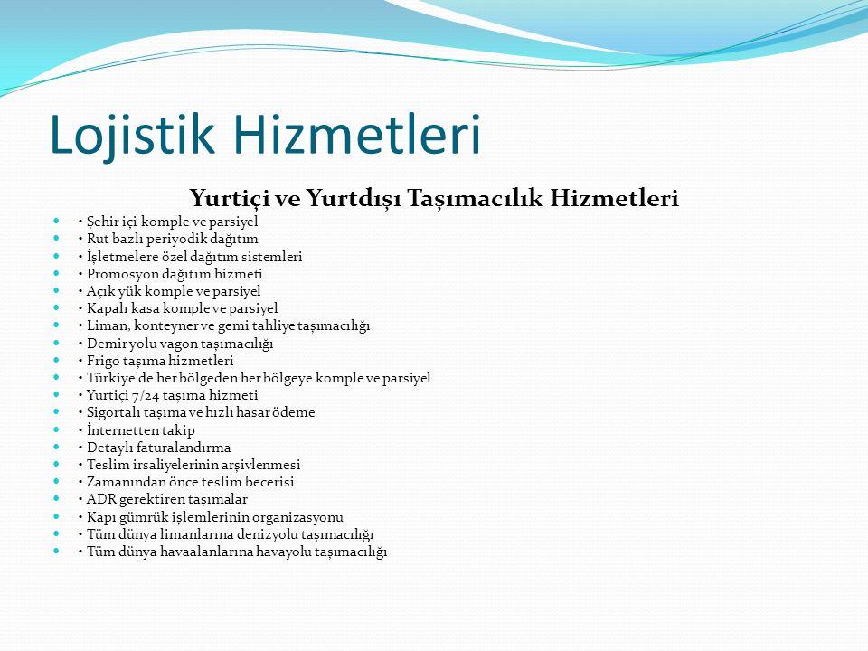 Lojistik Hizmetleri Yurtiçi ve Yurtdışı Taşımacılık Hizmetleri Şehir içi komple ve parsiyel Rut bazlı periyodik dağıtım İşletmelere özel dağıtım sistemleri Promosyon dağıtım hizmeti Açık yük komple ve parsiyel Kapalı kasa komple ve parsiyel Liman, konteyner ve gemi tahliye taşımacılığı Demir yolu vagon taşımacılığı Frigo taşıma hizmetleri Türkiye de her bölgeden her bölgeye komple ve parsiyel Yurtiçi 7/24 taşıma hizmeti Sigortalı taşıma ve hızlı hasar ödeme İnternetten takip Detaylı faturalandırma Teslim irsaliyelerinin arşivlenmesi Zamanından önce teslim becerisi ADR gerektiren taşımalar Kapı gümrük işlemlerinin organizasyonu Tüm dünya limanlarına denizyolu taşımacılığı Tüm dünya havaalanlarına havayolu taşımacılığı