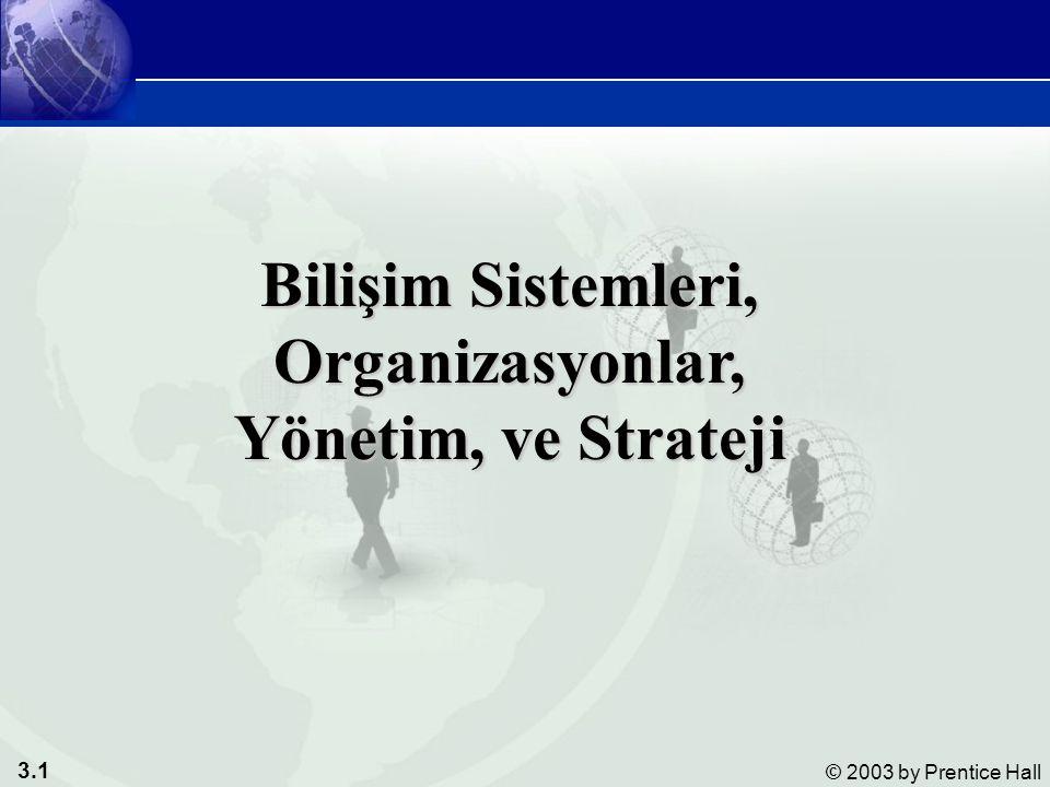 3.1 © 2003 by Prentice Hall Bilişim Sistemleri, Organizasyonlar, Yönetim, ve Strateji