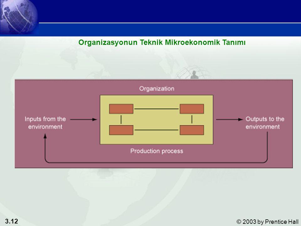 3.12 © 2003 by Prentice Hall Organizasyonun Teknik Mikroekonomik Tanımı