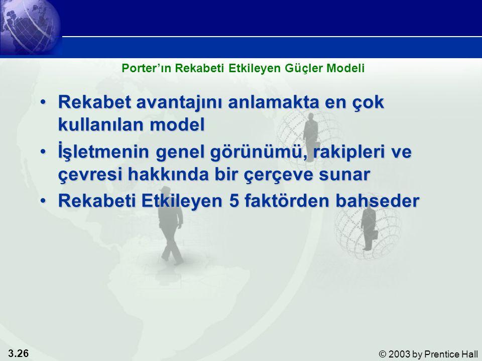 3.26 © 2003 by Prentice Hall Rekabet avantajını anlamakta en çok kullanılan modelRekabet avantajını anlamakta en çok kullanılan model İşletmenin genel