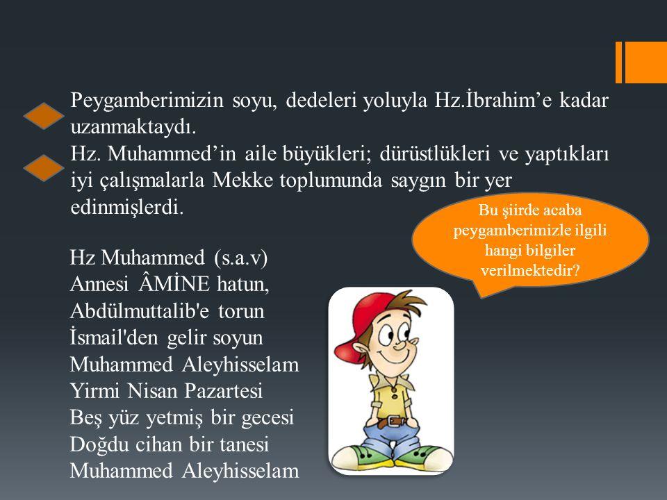 Peygamberimizin soyu, dedeleri yoluyla Hz.İbrahim'e kadar uzanmaktaydı.