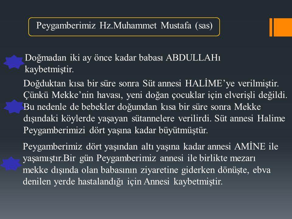 Peygamberimiz Hz.Muhammet Mustafa (sas) Doğmadan iki ay önce kadar babası ABDULLAHı kaybetmiştir.