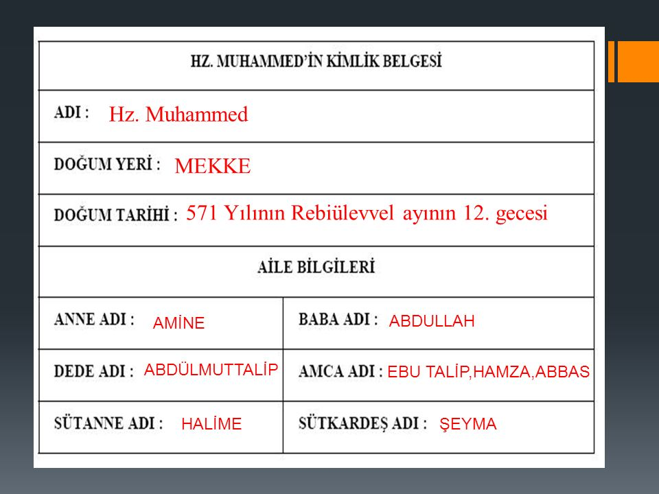 Hz. Muhammed MEKKE 571 Yılının Rebiülevvel ayının 12.