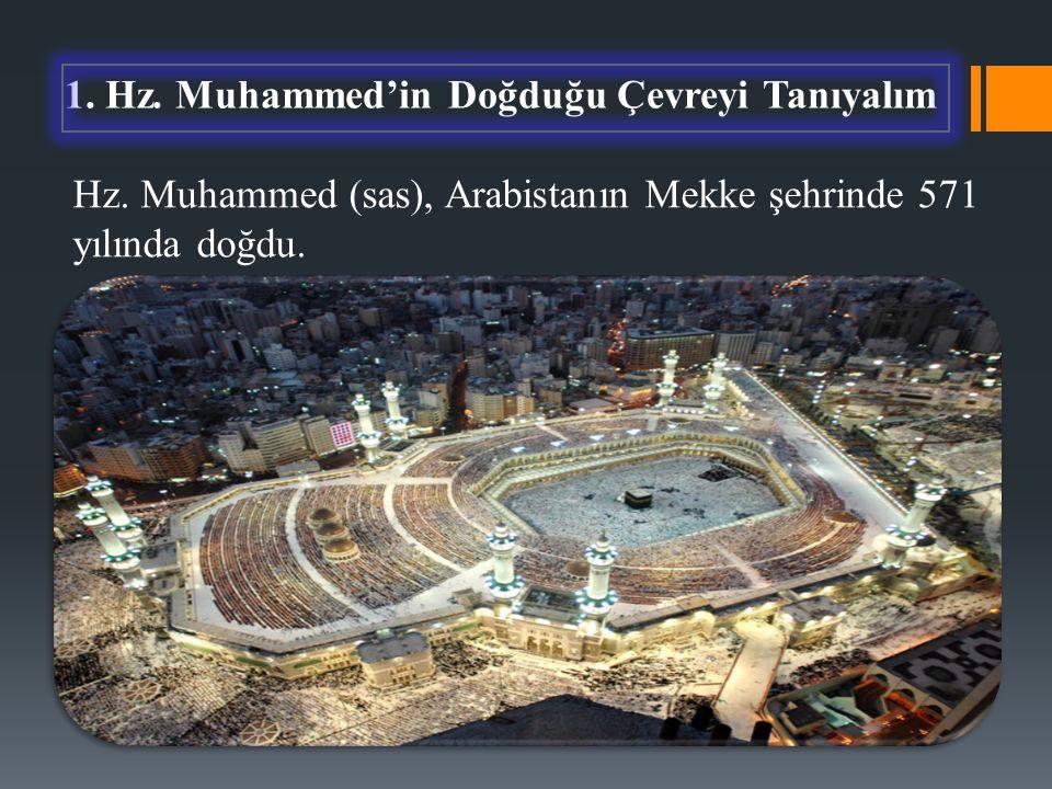 Hz. Muhammed (sas), Arabistanın Mekke şehrinde 571 yılında doğdu.
