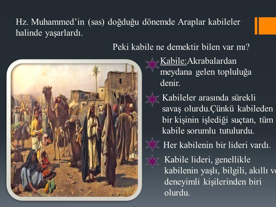 Hz. Muhammed'in (sas) doğduğu dönemde Araplar kabileler halinde yaşarlardı.