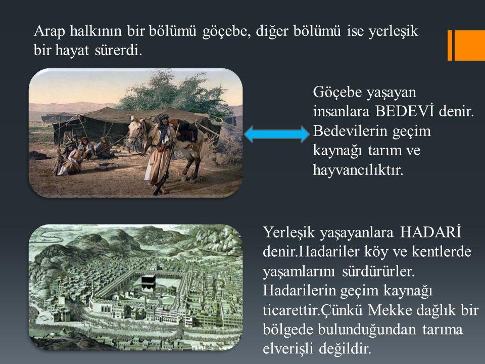 Arap toplumunda hürler ve köleler olmak üzere başlıca iki grup vardı.