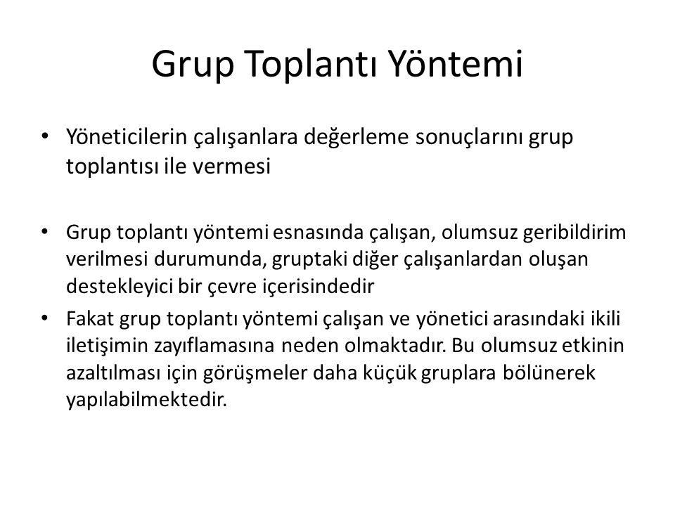 Grup Toplantı Yöntemi Yöneticilerin çalışanlara değerleme sonuçlarını grup toplantısı ile vermesi Grup toplantı yöntemi esnasında çalışan, olu