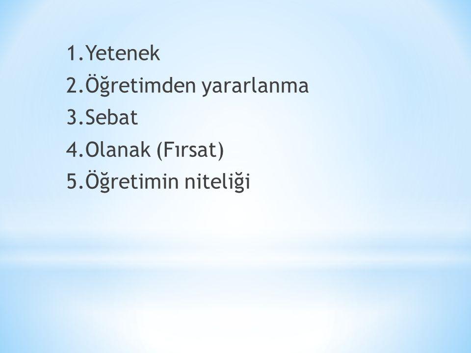 1.Yetenek 2.Öğretimden yararlanma 3.Sebat 4.Olanak (Fırsat) 5.Öğretimin niteliği