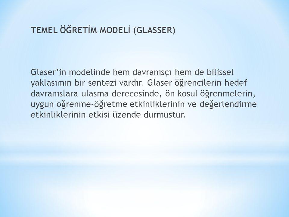 TEMEL ÖĞRETİM MODELİ (GLASSER) Glaser'in modelinde hem davranısçı hem de bilissel yaklasımın bir sentezi vardır.
