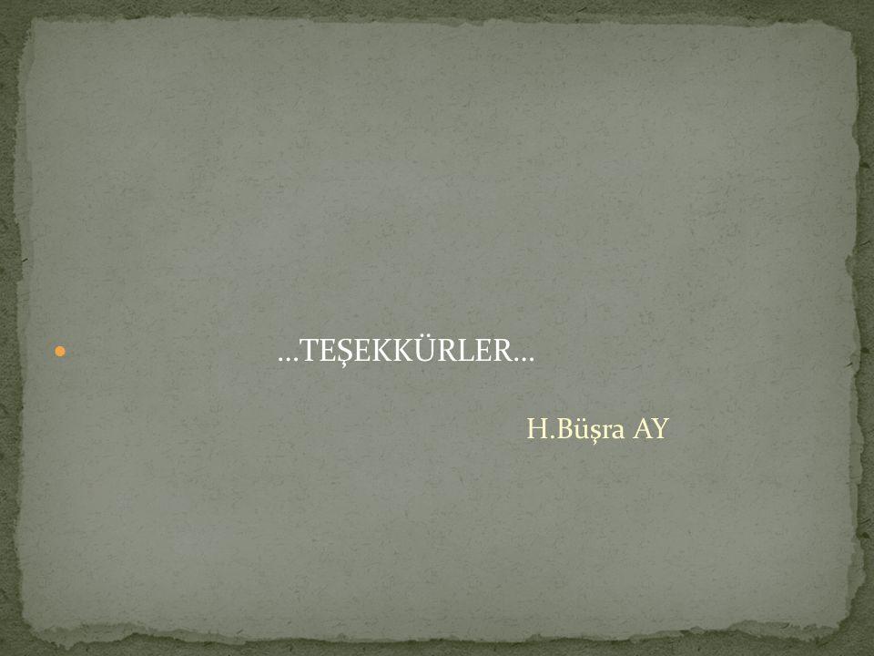 …TEŞEKKÜRLER… H.Büşra AY