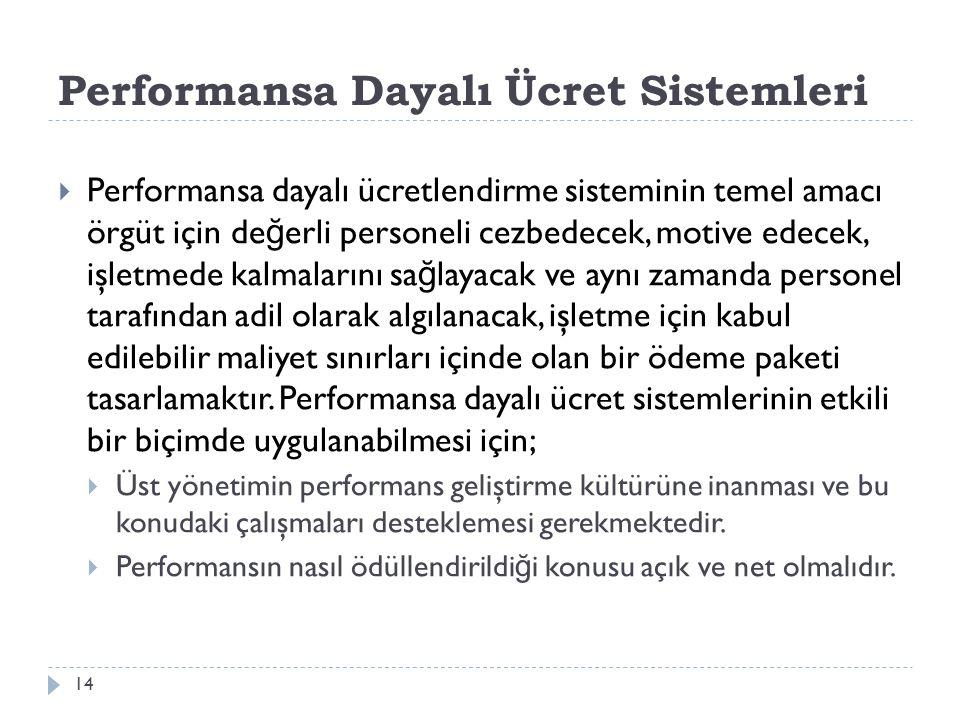 Performansa Dayalı Ücret Sistemleri  Performansa dayalı ücretlendirme sisteminin temel amacı örgüt için de ğ erli personeli cezbedecek, motive edecek