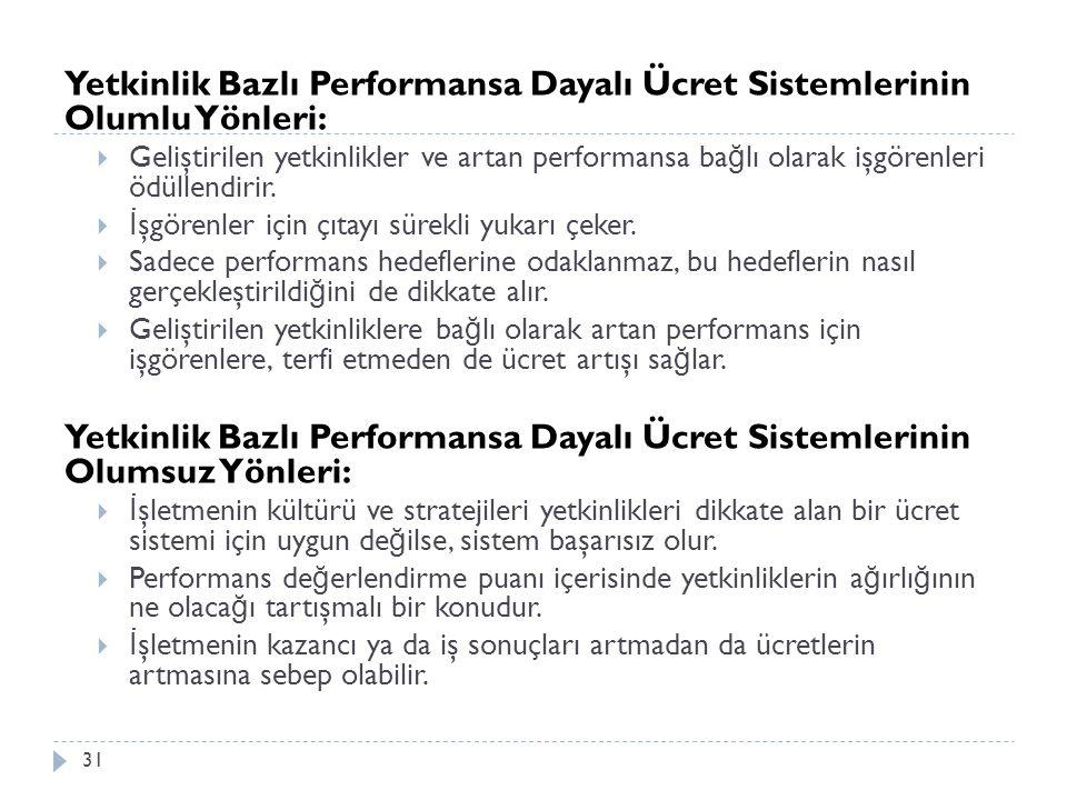 Yetkinlik Bazlı Performansa Dayalı Ücret Sistemlerinin Olumlu Yönleri:  Geliştirilen yetkinlikler ve artan performansa ba ğ lı olarak işgörenleri ödü