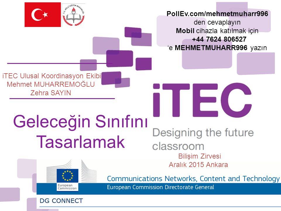 iTEC Ulusal Koordinasyon Ekibi Mehmet MUHARREMOĞLU Zehra SAYIN Geleceğin Sınıfını Tasarlamak Bilişim Zirvesi Aralık 2015 Ankara PollEv.com/mehmetmuharr996 den cevaplayın Mobil cihazla katılmak için +44 7624 806527 'e MEHMETMUHARR996 yazın