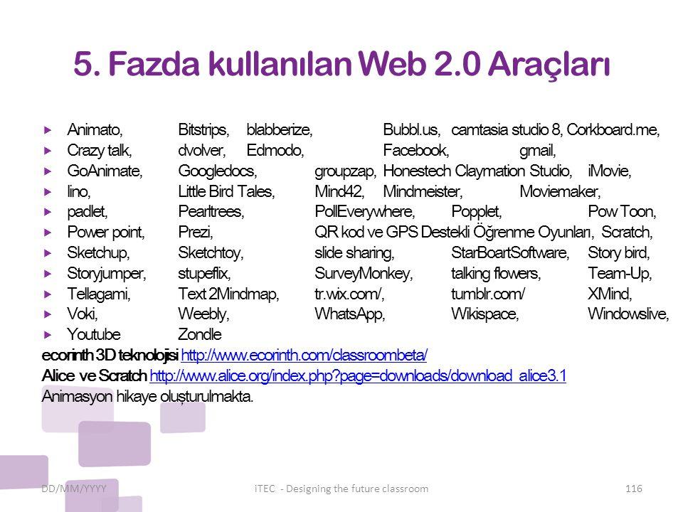 5. Fazda kullanılan Web 2.0 Araçları  Animato, Bitstrips, blabberize, Bubbl.us, camtasia studio 8, Corkboard.me,  Crazy talk, dvolver, Edmodo, Faceb
