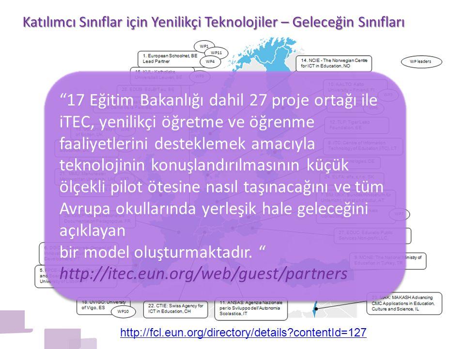 17 Eğitim Bakanlığı dahil 27 proje ortağı ile iTEC, yenilikçi öğretme ve öğrenme faaliyetlerini desteklemek amacıyla teknolojinin konuşlandırılmasının küçük ölçekli pilot ötesine nasıl taşınacağını ve tüm Avrupa okullarında yerleşik hale geleceğini açıklayan bir model oluşturmaktadır.