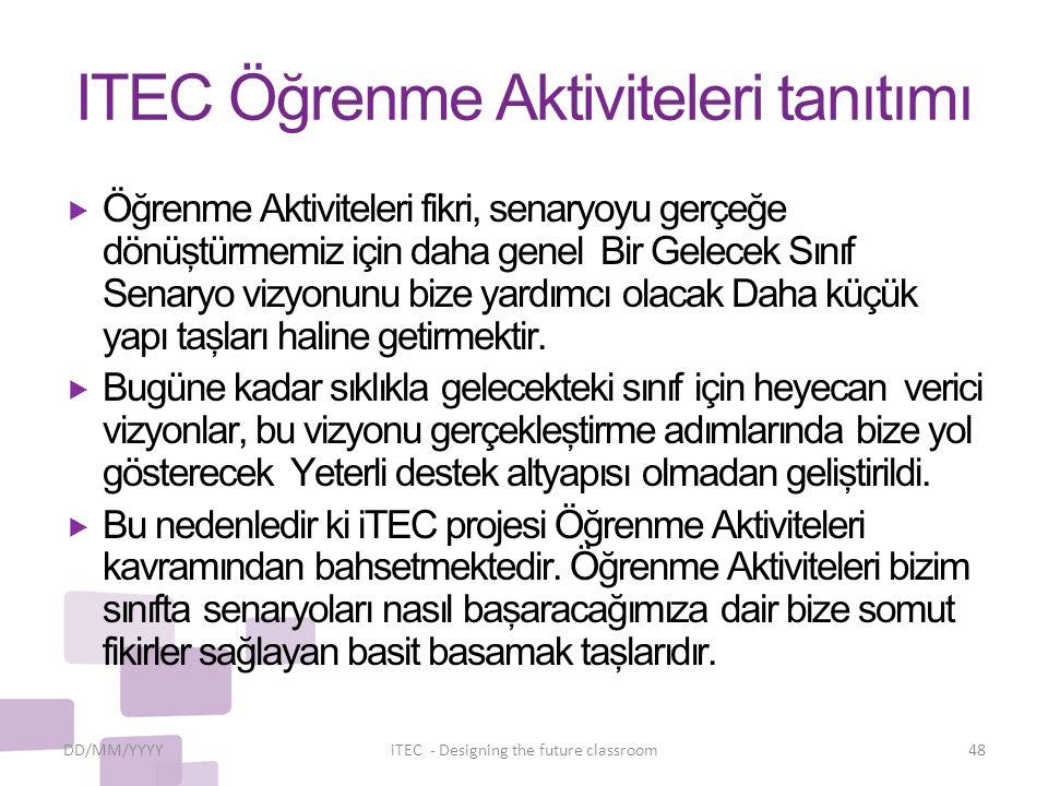 ITEC Öğrenme Aktiviteleri tanıtımı  Öğrenme Aktiviteleri fikri, senaryoyu gerçeğe dönüştürmemiz için daha genel Bir Gelecek Sınıf Senaryo vizyonunu b