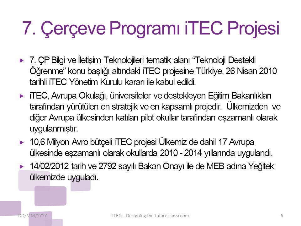 """7. Çerçeve Programı iTEC Projesi  7. ÇP Bilgi ve İletişim Teknolojileri tematik alanı """"Teknoloji Destekli Öğrenme"""" konu başlığı altındaki iTEC projes"""