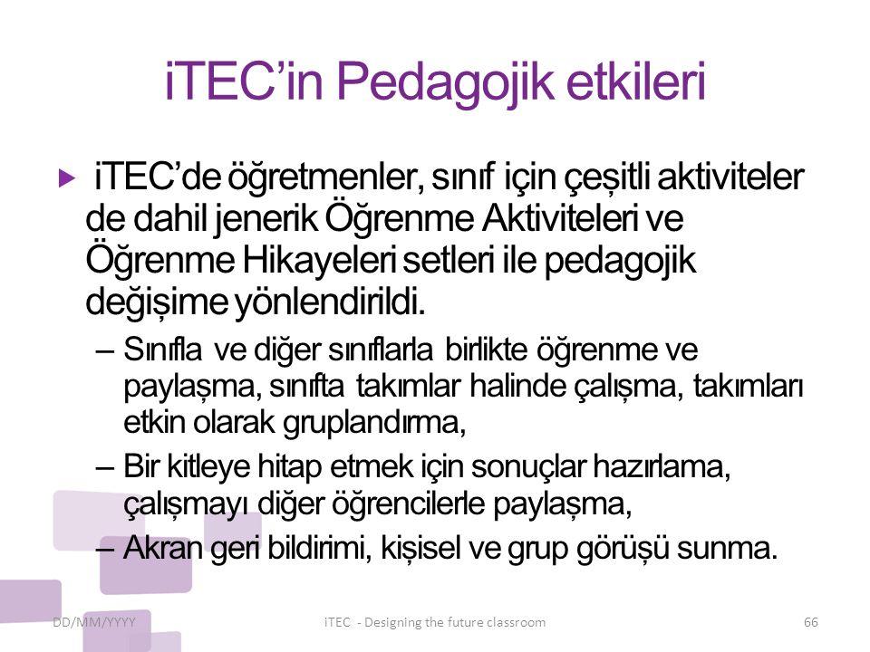 iTEC'in Pedagojik etkileri  iTEC'de öğretmenler, sınıf için çeşitli aktiviteler de dahil jenerik Öğrenme Aktiviteleri ve Öğrenme Hikayeleri setleri i