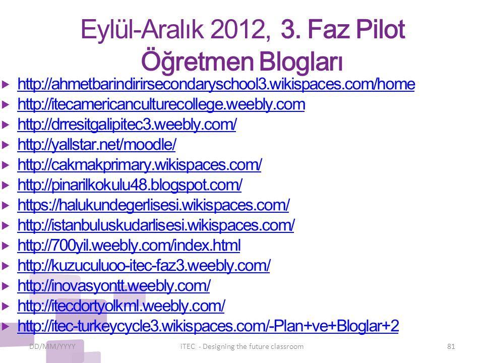 Eylül-Aralık 2012, 3. Faz Pilot Öğretmen Blogları  http://ahmetbarindirirsecondaryschool3.wikispaces.com/home http://ahmetbarindirirsecondaryschool3.