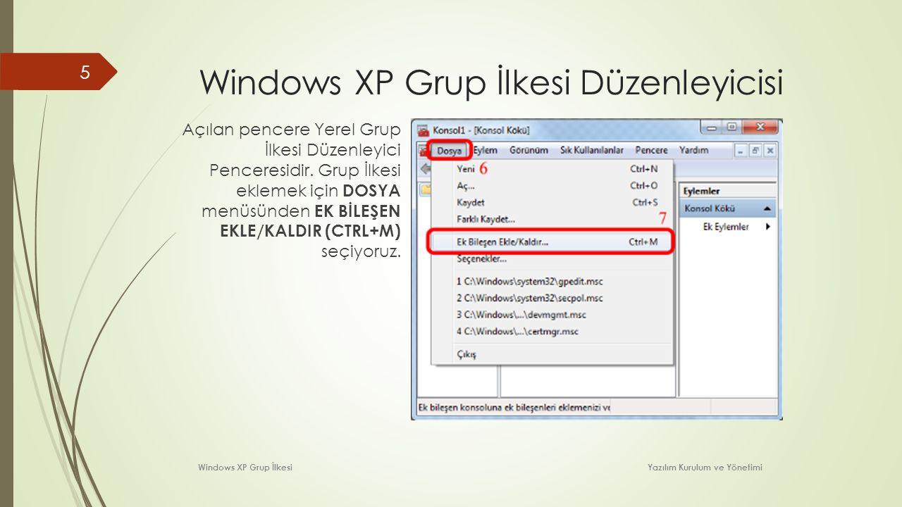 Windows XP Grup İlkesi Düzenleyicisi Açılan pencere Yerel Grup İlkesi Düzenleyici Penceresidir. Grup İlkesi eklemek için DOSYA menüsünden EK BİLEŞEN E