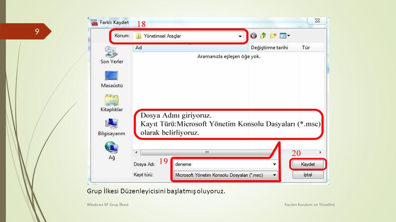 9 Grup İlkesi Düzenleyicisini başlatmış oluyoruz. Windows XP Grup İlkesi Yazılım Kurulum ve Yönetimi