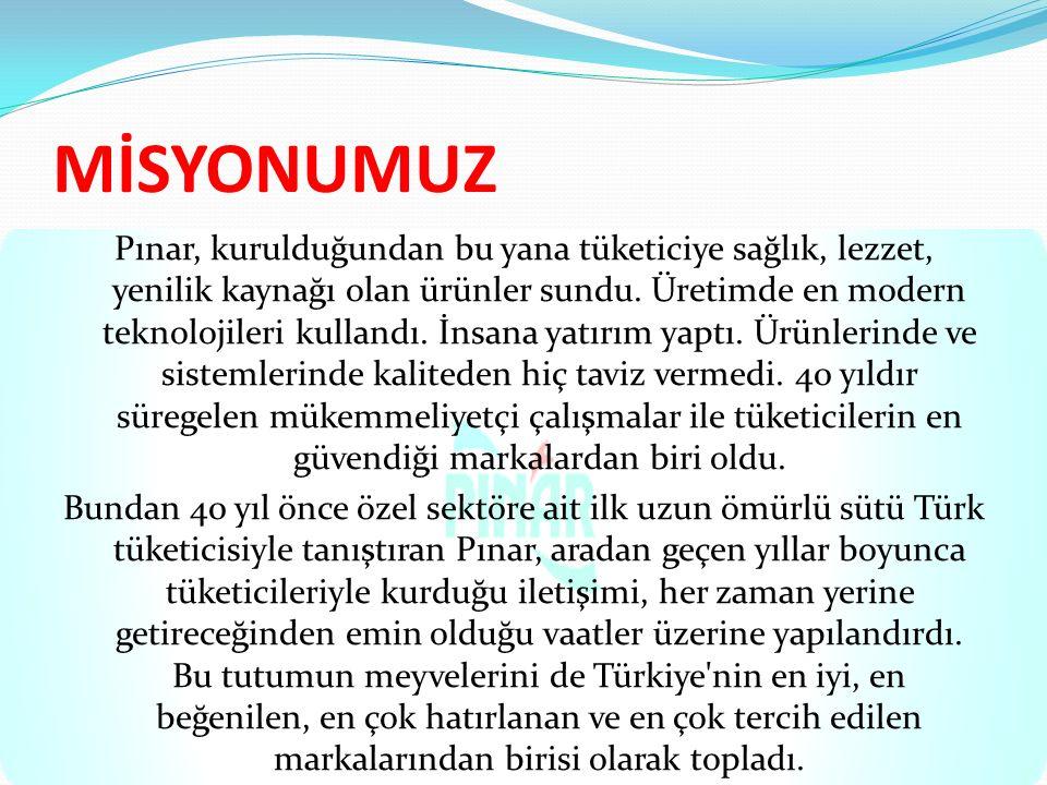 MİSYONUMUZ Pınar, kurulduğundan bu yana tüketiciye sağlık, lezzet, yenilik kaynağı olan ürünler sundu. Üretimde en modern teknolojileri kullandı. İnsa