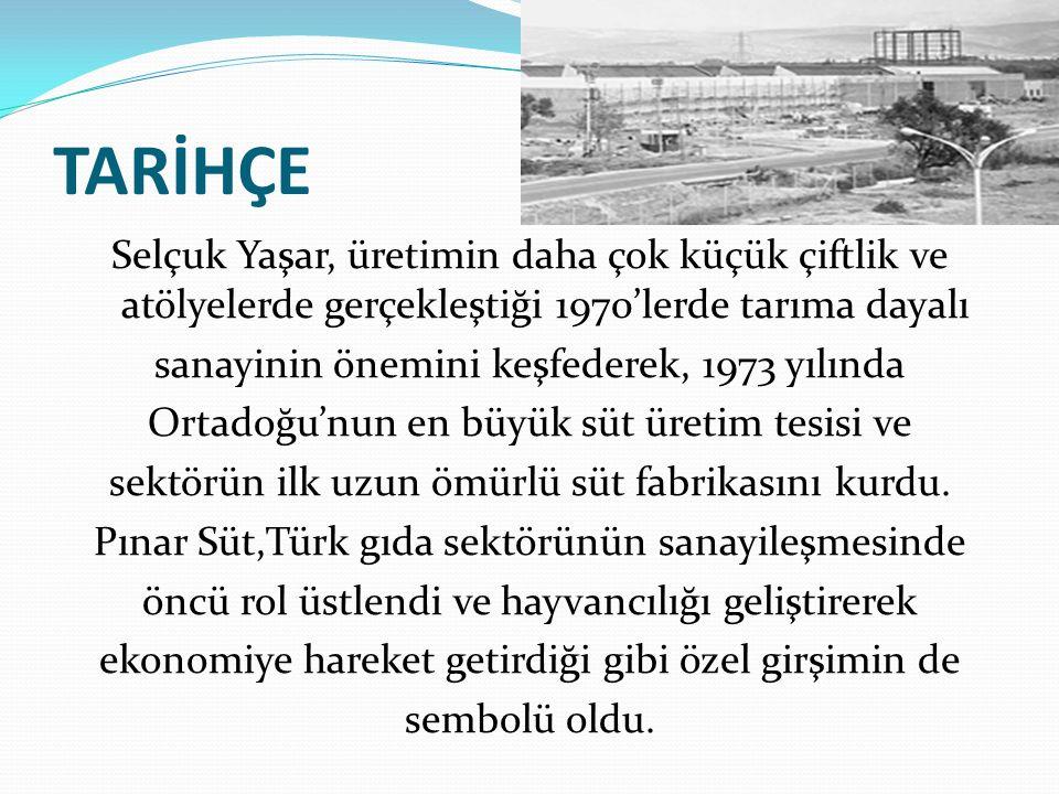 TARİHÇE Selçuk Yaşar, üretimin daha çok küçük çiftlik ve atölyelerde gerçekleştiği 1970'lerde tarıma dayalı sanayinin önemini keşfederek, 1973 yılında
