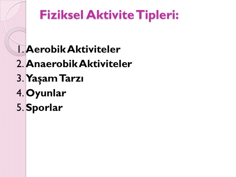 Fiziksel Aktivite Tipleri: 1. Aerobik Aktiviteler 2. Anaerobik Aktiviteler 3. Yaşam Tarzı 4. Oyunlar 5. Sporlar