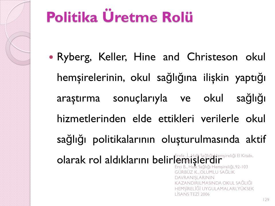 Politika Üretme Rolü Ryberg, Keller, Hine and Christeson okul hemşirelerinin, okul sa ğ lı ğ ına ilişkin yaptı ğ ı araştırma sonuçlarıyla ve okul sa ğ