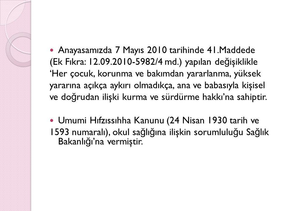 Anayasamızda 7 Mayıs 2010 tarihinde 41.Maddede (Ek Fıkra: 12.09.2010-5982/4 md.) yapılan de ğ işiklikle 'Her çocuk, korunma ve bakımdan yararlanma, yü