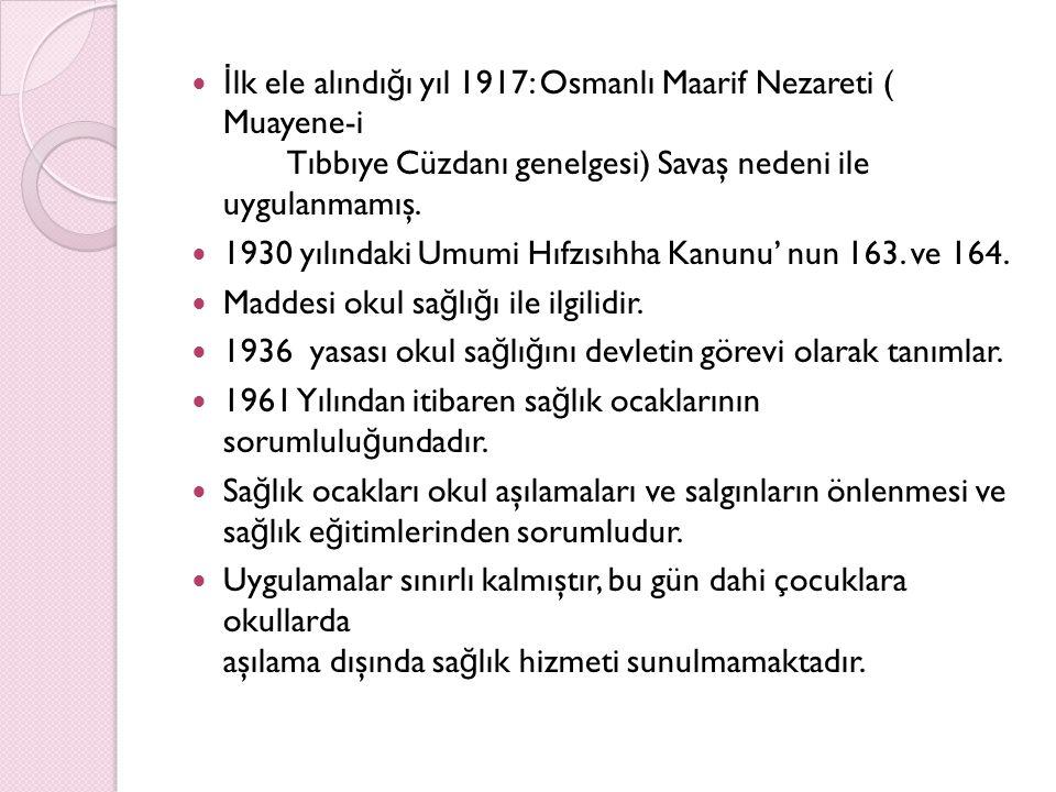İ lk ele alındı ğ ı yıl 1917: Osmanlı Maarif Nezareti ( Muayene-i Tıbbıye Cüzdanı genelgesi) Savaş nedeni ile uygulanmamış. 1930 yılındaki Umumi Hıfzı