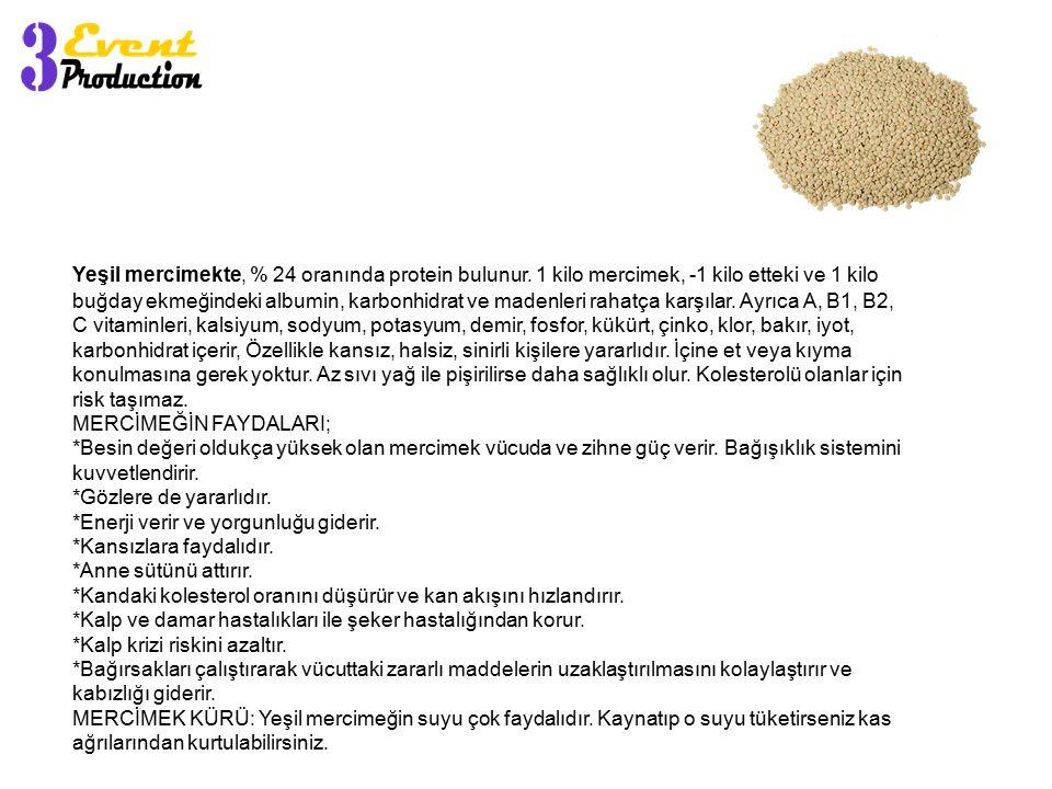 Yeşil mercimekte, % 24 oranında protein bulunur. 1 kilo mercimek, -1 kilo etteki ve 1 kilo buğday ekmeğindeki albumin, karbonhidrat ve madenleri rahat