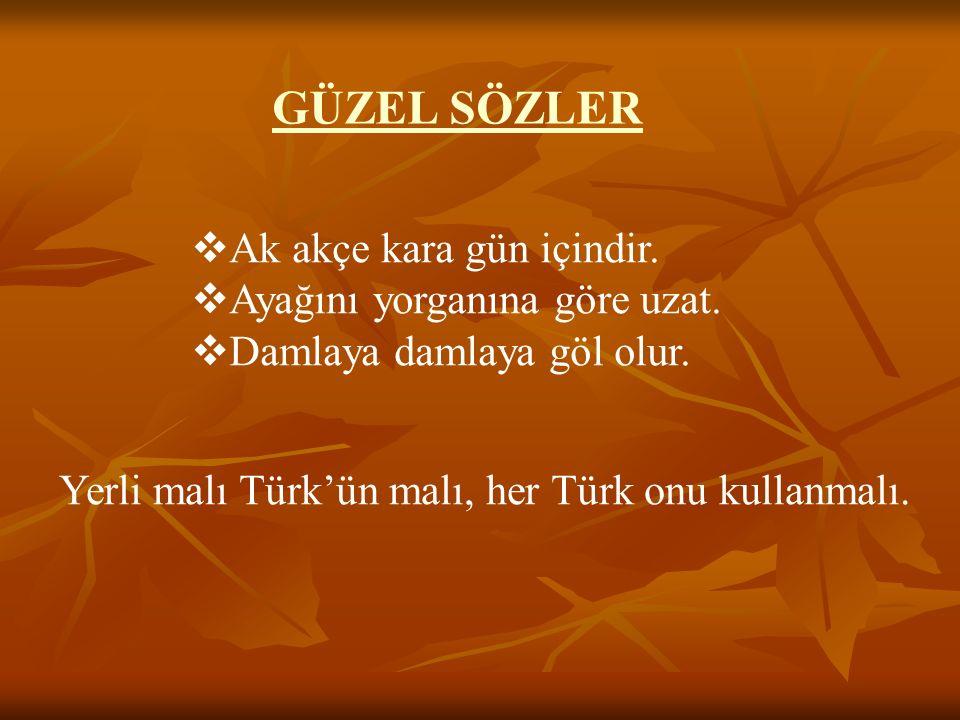 GÜZEL SÖZLER  Ak akçe kara gün içindir.  Ayağını yorganına göre uzat.  Damlaya damlaya göl olur. Yerli malı Türk'ün malı, her Türk onu kullanmalı.
