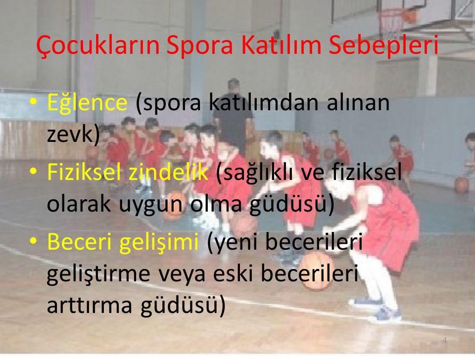 Çocukların Spora Katılım Sebepleri Eğlence (spora katılımdan alınan zevk) Fiziksel zindelik (sağlıklı ve fiziksel olarak uygun olma güdüsü) Beceri gel
