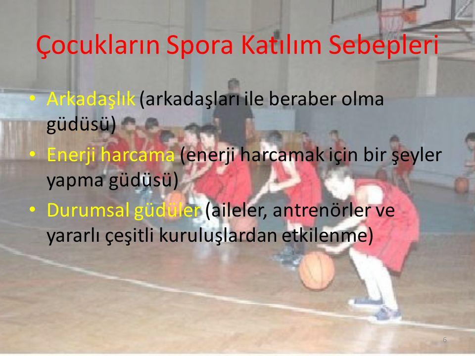 Çocukların Spora Katılım Sebepleri Arkadaşlık (arkadaşları ile beraber olma güdüsü) Enerji harcama (enerji harcamak için bir şeyler yapma güdüsü) Duru