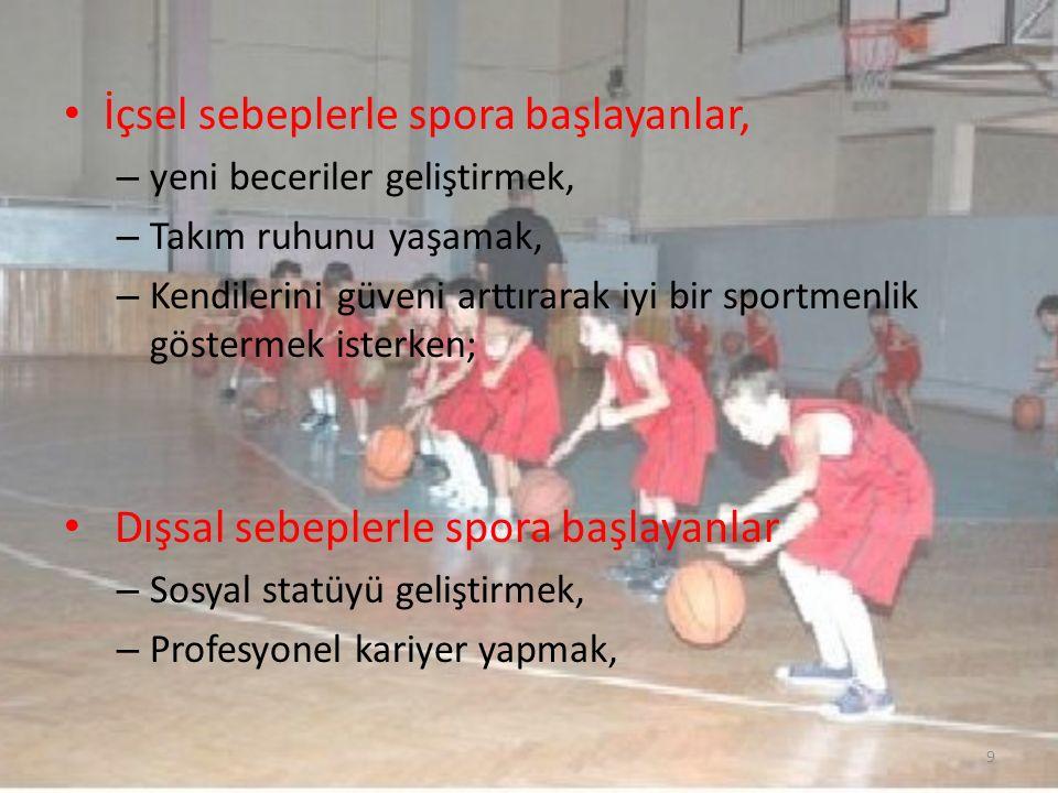 İçsel sebeplerle spora başlayanlar, – yeni beceriler geliştirmek, – Takım ruhunu yaşamak, – Kendilerini güveni arttırarak iyi bir sportmenlik gösterme