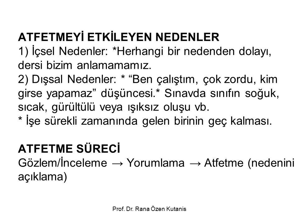 Prof. Dr. Rana Özen Kutanis ATFETMEYİ ETKİLEYEN NEDENLER 1) İçsel Nedenler: *Herhangi bir nedenden dolayı, dersi bizim anlamamamız. 2) Dışsal Nedenler