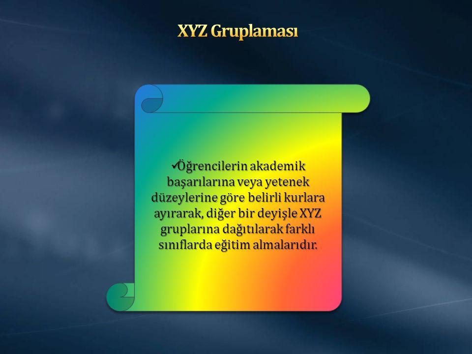 Öğrencilerin akademik başarılarına veya yetenek düzeylerine göre belirli kurlara ayırarak, diğer bir deyişle XYZ gruplarına dağıtılarak farklı sınıflarda eğitim almalarıdır.
