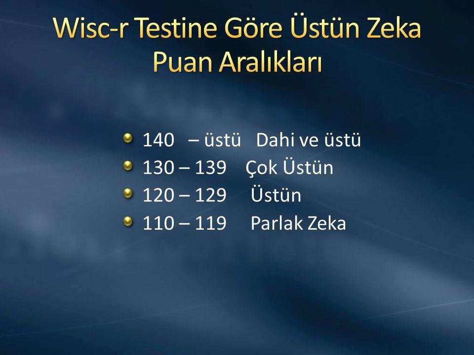 140 – üstü Dahi ve üstü 130 – 139 Çok Üstün 120 – 129 Üstün 110 – 119 Parlak Zeka