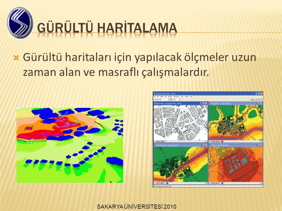  Gürültü haritaları için yapılacak ölçmeler uzun zaman alan ve masraflı çalışmalardır.