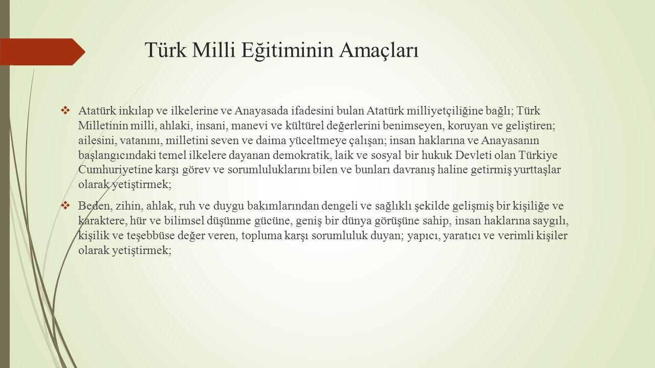  İlgi, istidat ve kabiliyetlerini geliştirerek gerekli bilgi, beceri, davranışlar ve birlikte iş görme alışkanlığı kazandırmak suretiyle hayata hazırlamak ve onların, kendilerini mutlu kılacak ve toplumun mutluluğuna katkıda bulunacak bir meslek sahibi olmalarını sağlamak; Böylece bir yandan Türk vatandaşlarının ve Türk toplumunun refah ve mutluluğunu artırmak; öte yandan milli birlik ve bütünlük içinde iktisadi, sosyal ve kültürel kalkınmayı desteklemek ve hızlandırmak ve nihayet Türk Milletini çağdaş uygarlığın yapıcı, yaratıcı, seçkin bir ortağı yapmaktır.