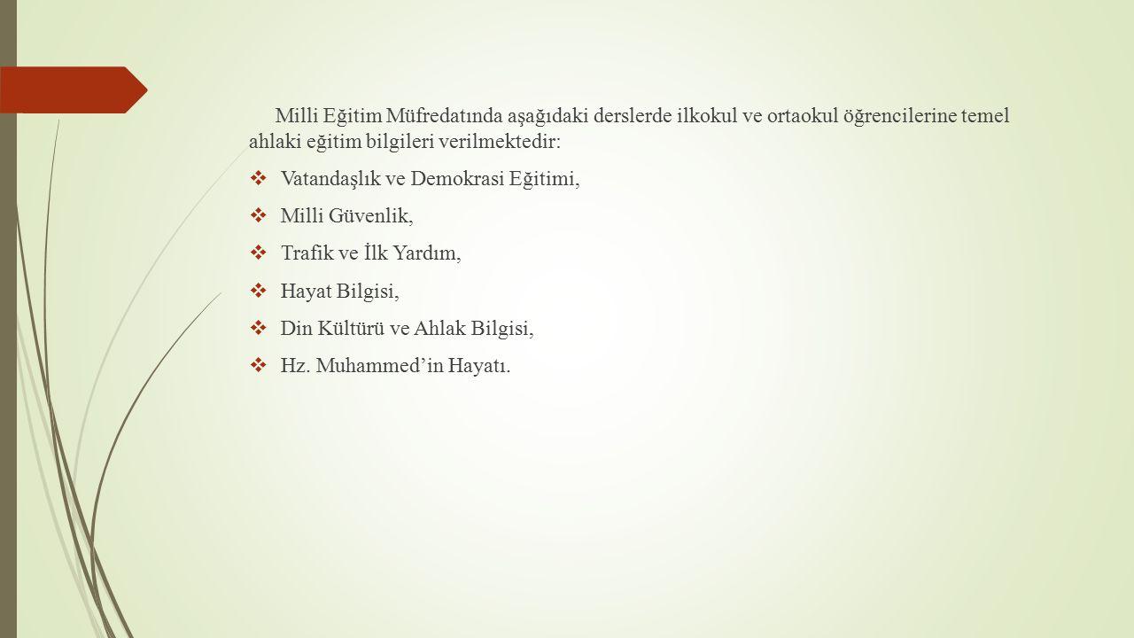 SAHA ARAŞTIRMASI Türk milli eğitim sisteminde kazandırılmaya çalışılan ahlaki değerler üzerine ortaokul öğrencilerine ve öğretmenlerine yapılan anket çalışması sonuçları: