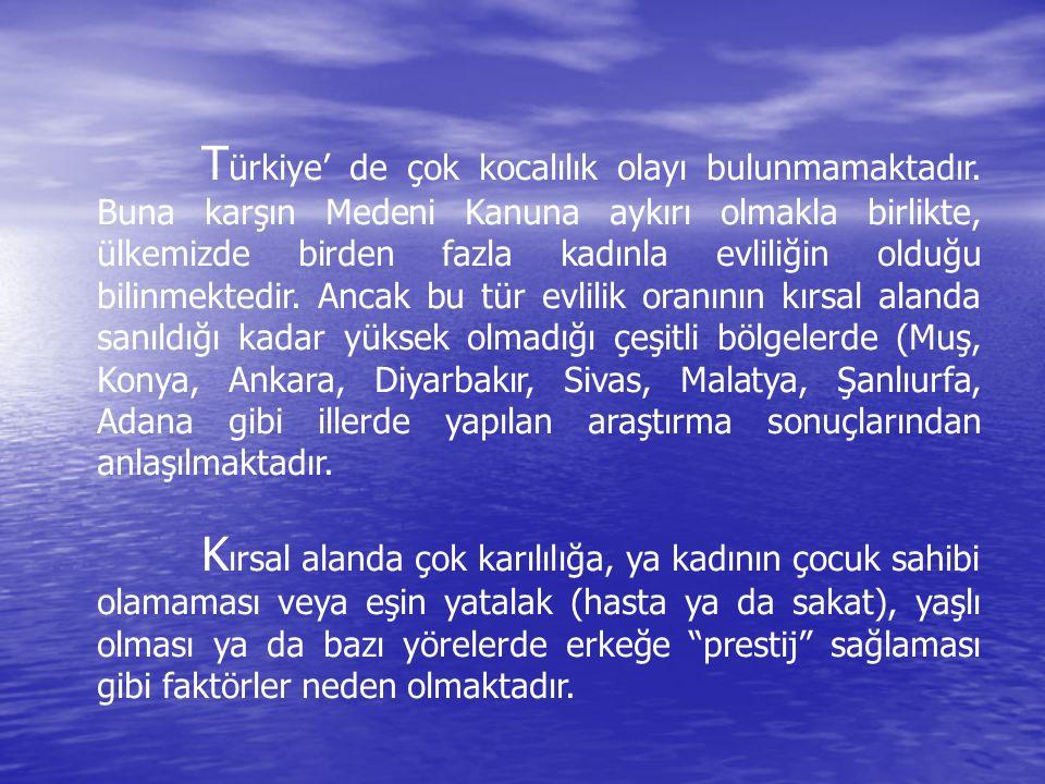 T ürkiye' de çok kocalılık olayı bulunmamaktadır. Buna karşın Medeni Kanuna aykırı olmakla birlikte, ülkemizde birden fazla kadınla evliliğin olduğu b