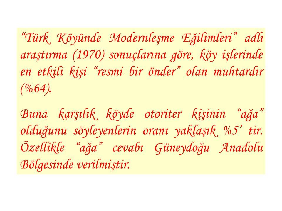 """""""Türk Köyünde Modernleşme Eğilimleri"""" adlı araştırma (1970) sonuçlarına göre, köy işlerinde en etkili kişi """"resmi bir önder"""" olan muhtardır (%64). Bun"""