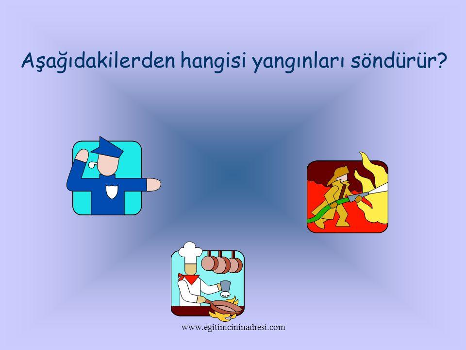 Aşağıdakilerden hangisi yangınları söndürür? www.egitimcininadresi.com